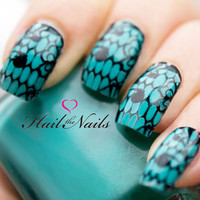 Black Lace Nail Art Water Transfers Decals Wraps YD099 Salon Quality