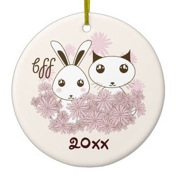 BFF - Best Friends Forever Cute Animal Kids Ivory Double-Sided Ceramic Round Christmas Ornament