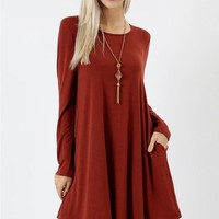 Fall Swing Dress - Dark Rust