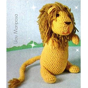 Vintage Crochet TOY Pattern-70s Crochet Lion Toy-Mobile-Stuffed Toy-Animal Zoo-Toddlers Chidren-Vintage Plush Toy- Baby Toy-Vtg-DIY