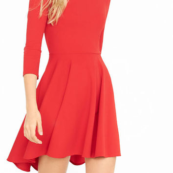 Three Quarter Sleeve Hi Lo Hem Fit And Flare Dress from EXPRESS