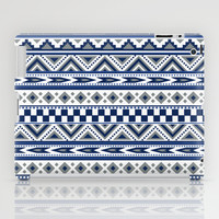 Tribal Art Pattern Navy Blue Silver White iPad Case by Tjc555