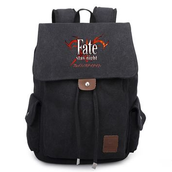 2017 New Anime Game Fate/stay night Canvas Backpack Unisex School Bag Satchel Rucksack Leisure Shoulder Bags Travel Bags