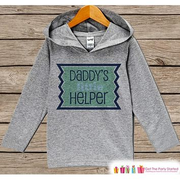 Boys Fathers Day Hoodie - Grey Kids Hoodie - Daddy's Little Helper - Toddler Happy Fathers Day Outfit - Novelty Fathers Day Gift Boy or Girl