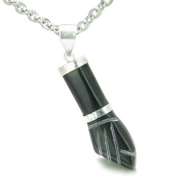 Figa Black Agate Spiritual Protection Amulet Italian Horn Charm Pendant 22 Inch Necklace