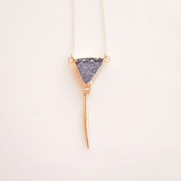 Blue Druzy Necklace with Gold Spike - OOAK Jewelry