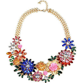 Girl Era Womens Acrylic 3D Crystal Flowers Big Costume Jewelry Chain Charm Necklace(blue)