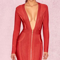 Soldier On Red Long Sleeve Plunge V Neck Zip Front Bodycon Bandage Mini Dress