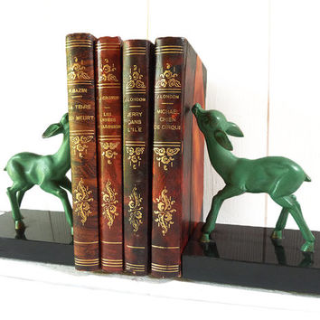 Lovely Vintage French Spelter and Marble BOOKENDS   - Baby Deer - Bambi   -  Fawn