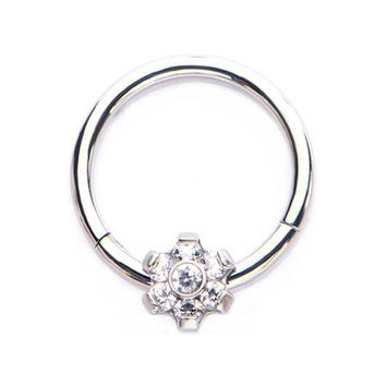 Flower Allure Sparkle Seamless Clicker Ring
