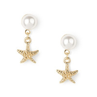 Pearl and Gold Starfish Drop Earrings