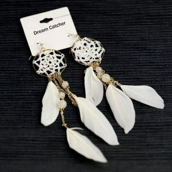 CREYUG3 2015 New Ethnic white coffee color Feather Beads Long Design Dream Catcher Earrings Bohemia = 1928455940