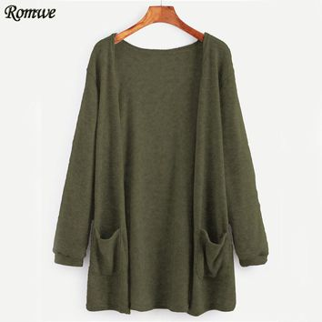 Green Pockets Long Cardigan Women Open Front Full Sleeve Sweater Fall Fashion Spring Cocoon Stretchy Loose Cardigan