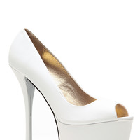 Qupid Spring Time White Peep Toe Heels