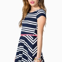 Stripe Flare Dress W/ Contrast Belt