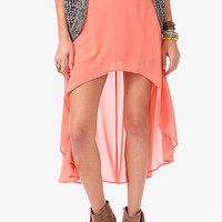 FOREVER 21 High-Low Chiffon Skirt Peach Large