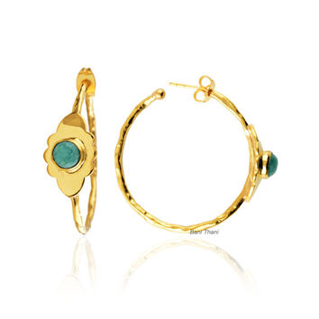 Hoop Earrings-Hoop Earrings Gold-Hoop Earrings Silver-Amazonite Round 6mm-New Design-Handmade Jewelry-Gift for Her