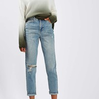 MOTO Bleach Ripped Mom Jeans | Topshop