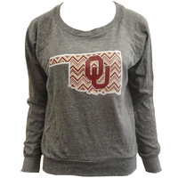 Bamboa Sooner Chevron Gray Long Sleeve