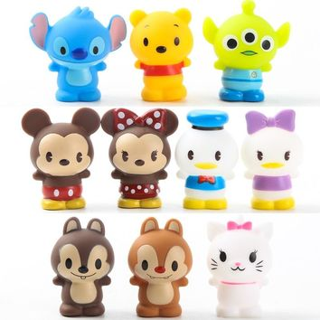 10pcs/set Hot Sale Vinyl Dolls Set Action Figures Mickey Winnie Bears Hello Kitty Duck Squeeze Toys for Children Kids Home Decor