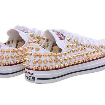 Studded Converse, Converse low top with Gold Cone Rivet Studs by CUSTOMDUO