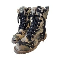 Military Style Mid-Calf Low Heels Lace Up Platform Shoes