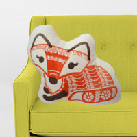 Girl Fox Pillow- screen printed plush
