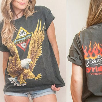 Vintage Easyriders Bald Eagle Biker Tee | Faded Black Harley Tshirt Americana Motorcycle Tee | Soft Thin 80s 90s Tee Virginia Beach Moto Tee