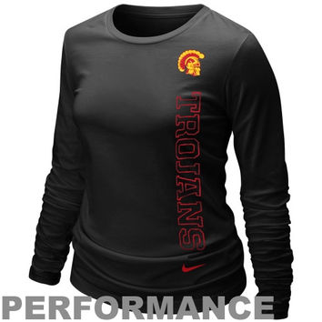 Nike USC Trojans Ladies Mascot Legend Long Sleeve Performance T-Shirt - Black