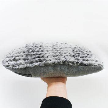 Chunky Knit Cashmere & Wool Pillow Cushion: Marble Wool