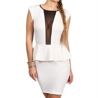 Ivory Black Mesh Peplum Dress