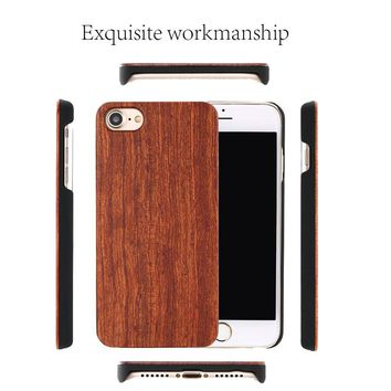 Real Wood Case For iphone 7 6 6S Plus 5 5S SE Cover Natural Bamboo Wooden Hard Phone Cases For Samsung Galaxy S8 S6 edge Plus