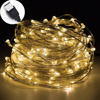 LED String Light Waterproof Copper Wire String Holiday Outdoor Fairy Lights Decoration