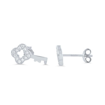 Sterling Silver Cz Key Stud Earrings
