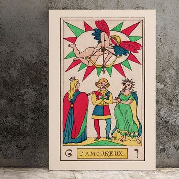 The Lovers- Tarot Card Art - The Lovers Card Tarot Poster an Oswald Wirth Print, No Frame