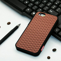 Vans Off The Wall Shoes Sole Soft Rubber Silicone Black With Brown Cover Case For iPhone 6/6s