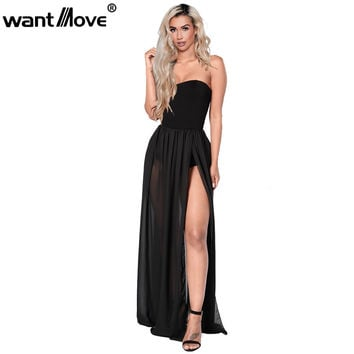 2 colors S-XL chiffon summer beach black white women strapless side slit long dress sexy club wear party maxi dresses XD559
