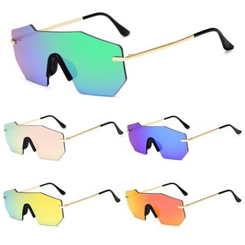Women Fashion One Piece Lens Rimless Sunglasses Designer Classic Eyeglass Shades