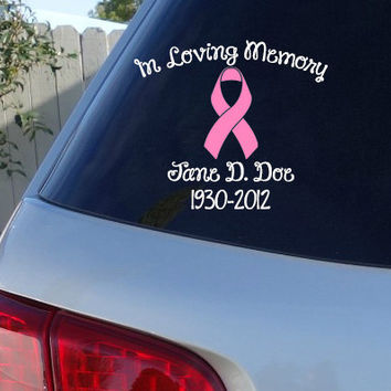 Breast Cancer In Loving Memory Car Window Decal | Car Decals | Breast Cancer Awareness Ribbon