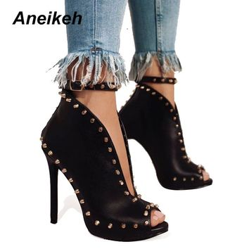NEW Autumn Women Shoes 2018 Peep Toe Pumps High Heels Women's Shoes Ankle Boots Rivets Buckle Motorcycle Women's Pumps Aneikeh