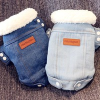 Dog Clothes for Small Dogs Winter Warm Jacket for Chihuahua Puppy Denim Coat for French Bulldog Cotton Thick Outfit for Pet XL