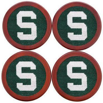 Michigan State Needlepoint Coasters in Green by Smathers & Branson