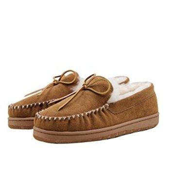 SUPERLAMB Men's Moccasin Sheepskin Slippers
