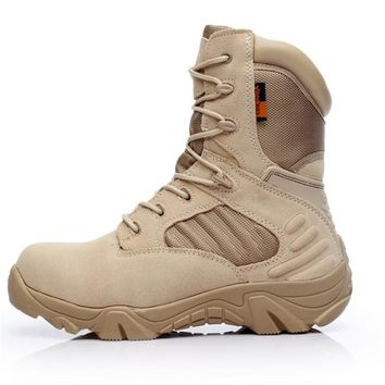 2018 winter outdoor military boots men's special forces combat shoes tactical boots desert boots hiking shoes high to help wear