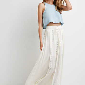 Crochet-Paneled Maxi Skirt