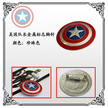 Superhero Captain America Shield Five-pointed Star Brooch For Man Broches  KT484