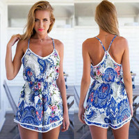 Womens Slim Fit Floral Print Jumpsuit Dress