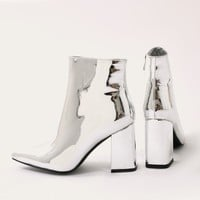 Empire Pointed Toe Ankle Boots in White