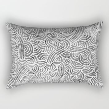 Grey and white doodles Rectangular Pillow by Savousepate