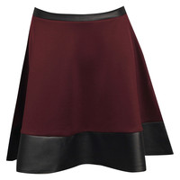 Amelia Contrast PU Waistband And Trim Skater Skirt